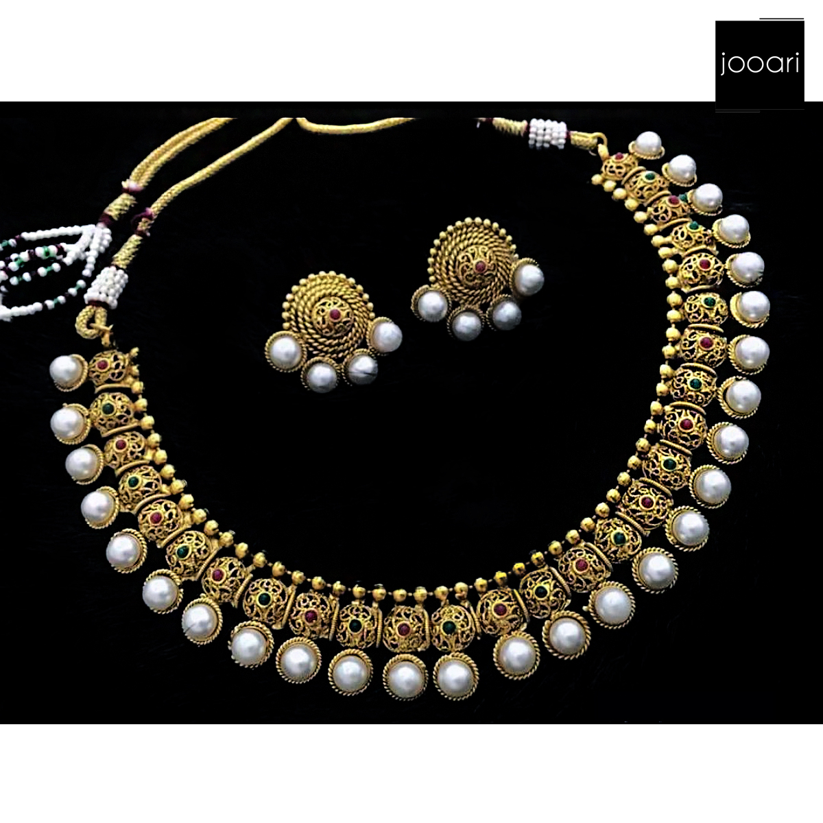 New Antique White Pearl Multicolored Pure Copper Designer Necklace Set with Earrings for Women and Girls