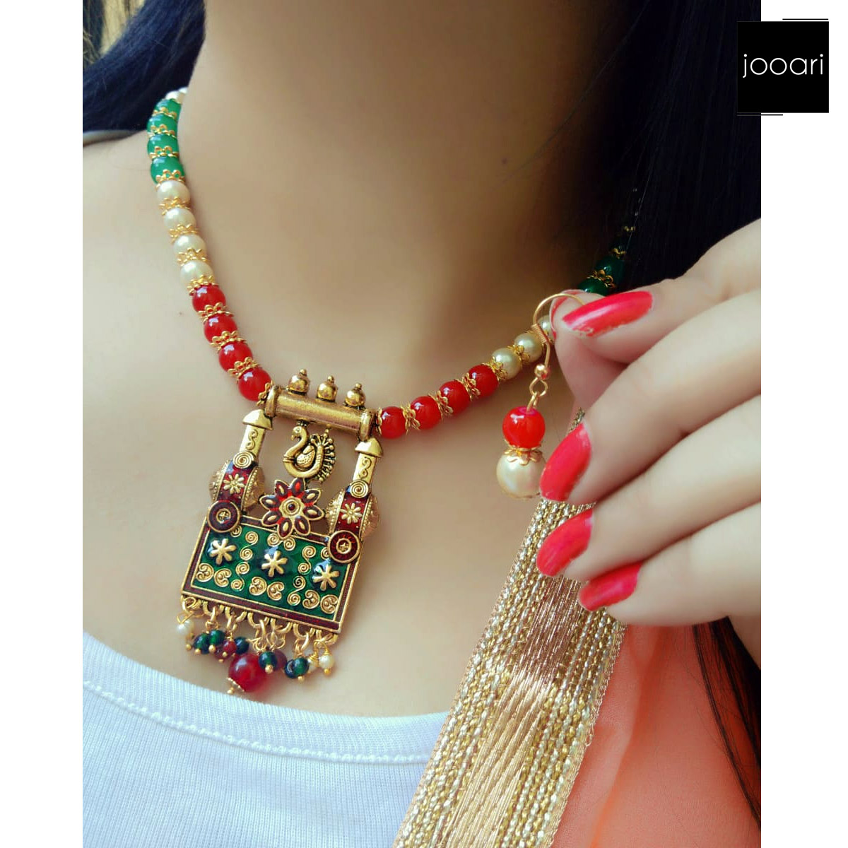 White Red Green Pearl Bird Pendant for Women and Girls Stylish Party Wear