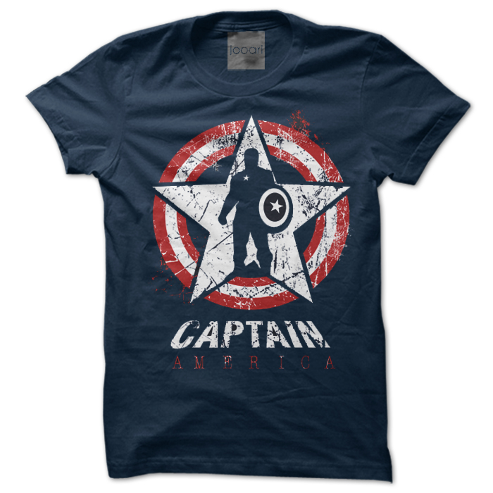 Captain America Round Neck Navy Blue Tshirt