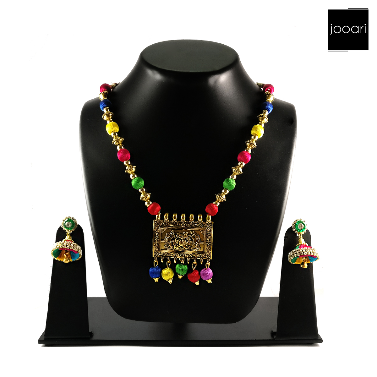 Multi colored Designer Silk Threaded Pendant with Earrings for Women and Girls (Party and Wedding Wear)