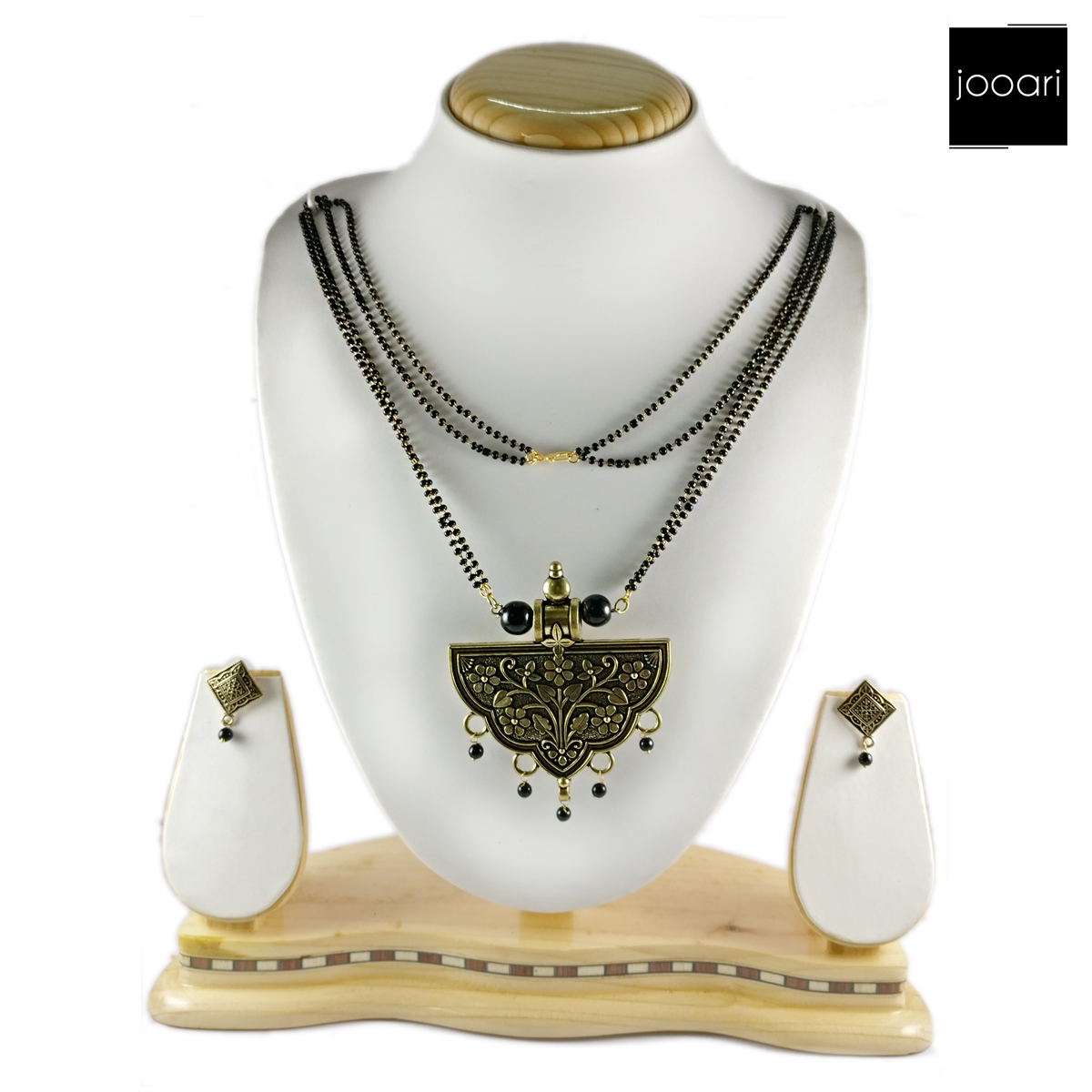 Ethnic Drop shape Designer Pendant Mangalsutra and Earrings with Black Bead Chain for Women and Girls (Traditional Wear)
