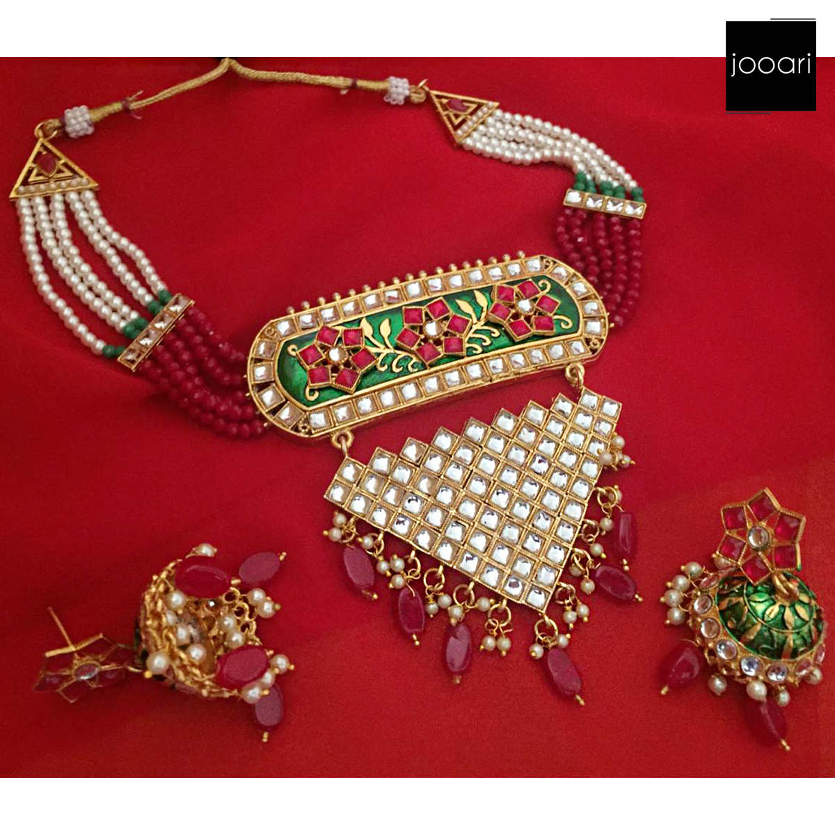 Red Silver Stones Gold Plated Red White Pearl Designer Necklace Set with Earrings for Women and Girls