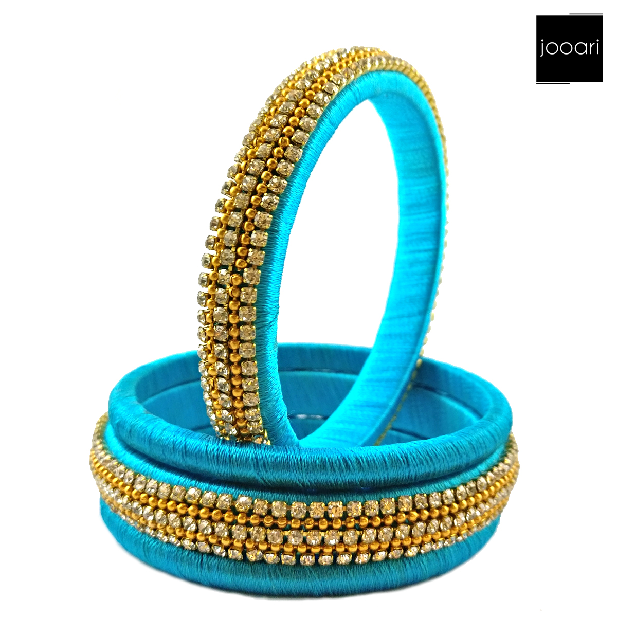 Blue And Gold Silk Threaded Bangle Set for Women and Girls