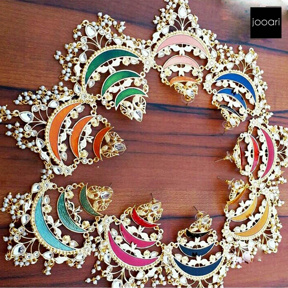 Half Moon Shape in Multi Color Gold Oxidised Earrings for Women