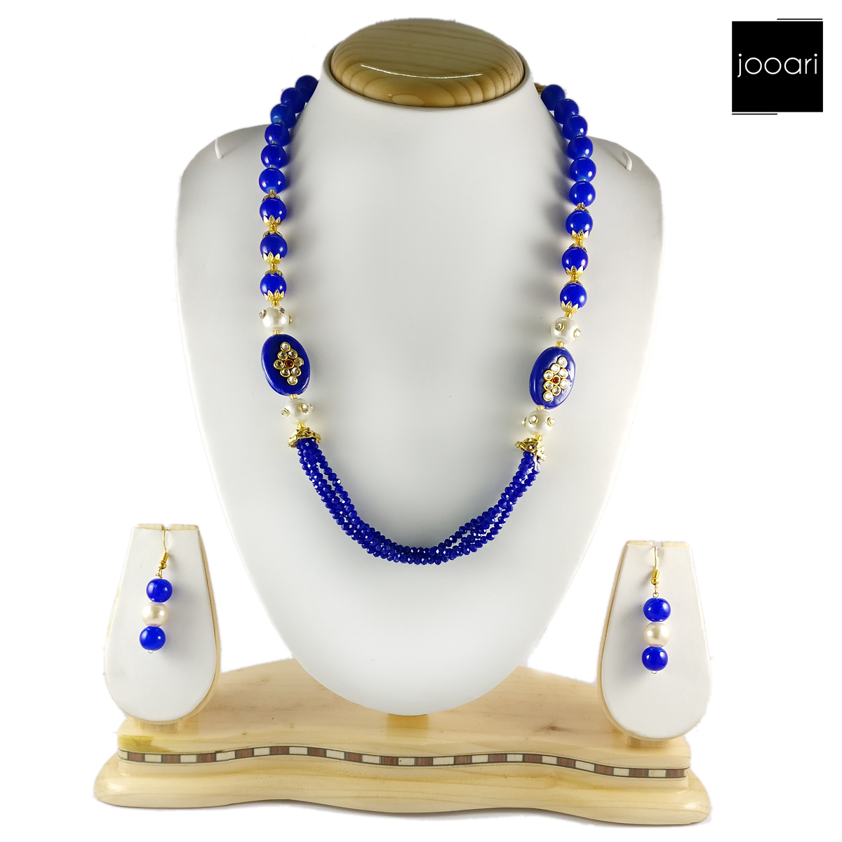 Blue Pearl Designer Necklace Set and Earrings with Blue Bead Chain for Women and Girls (Traditional and Party Wear)