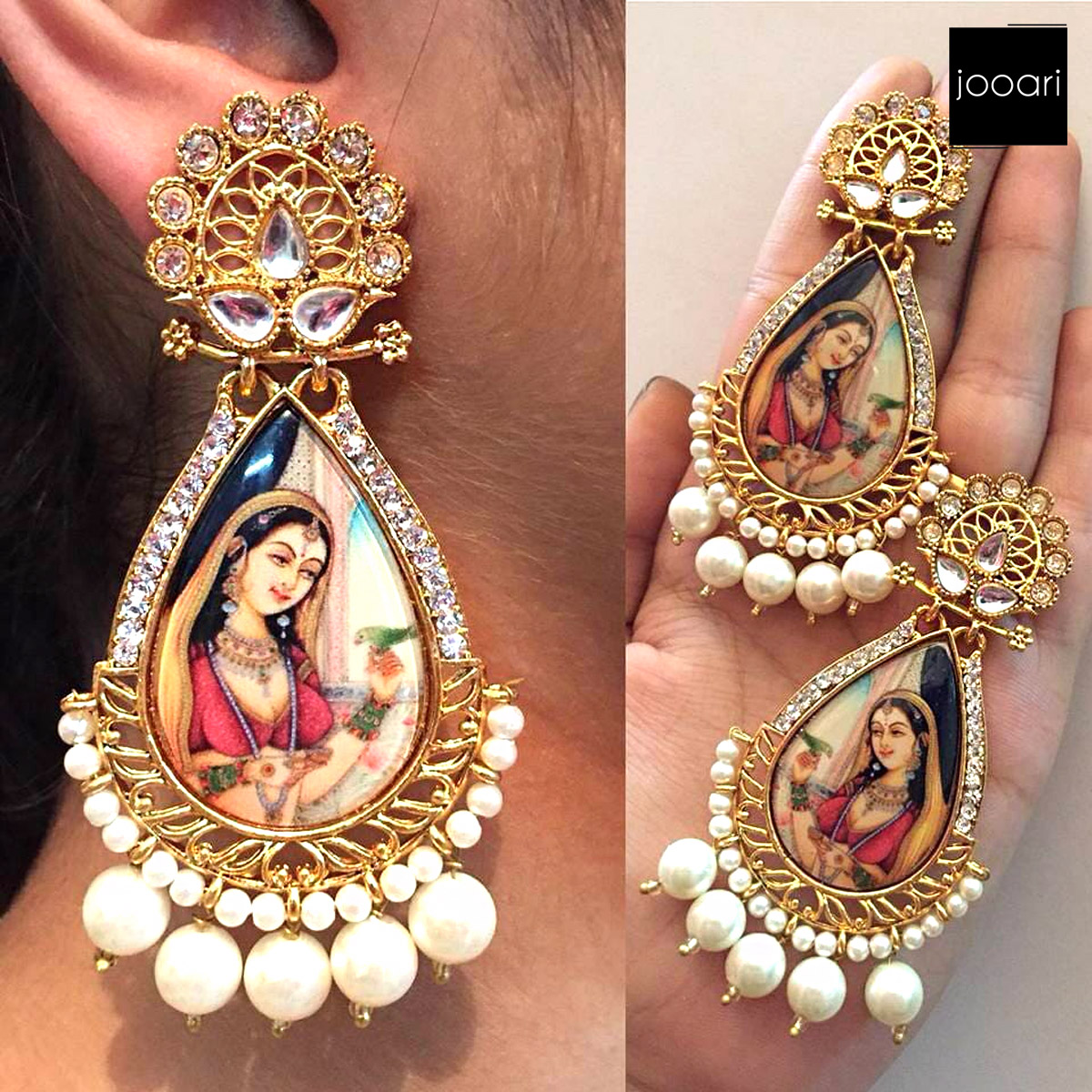 White Bridal Curvy Stylish Earrings for Party Wear