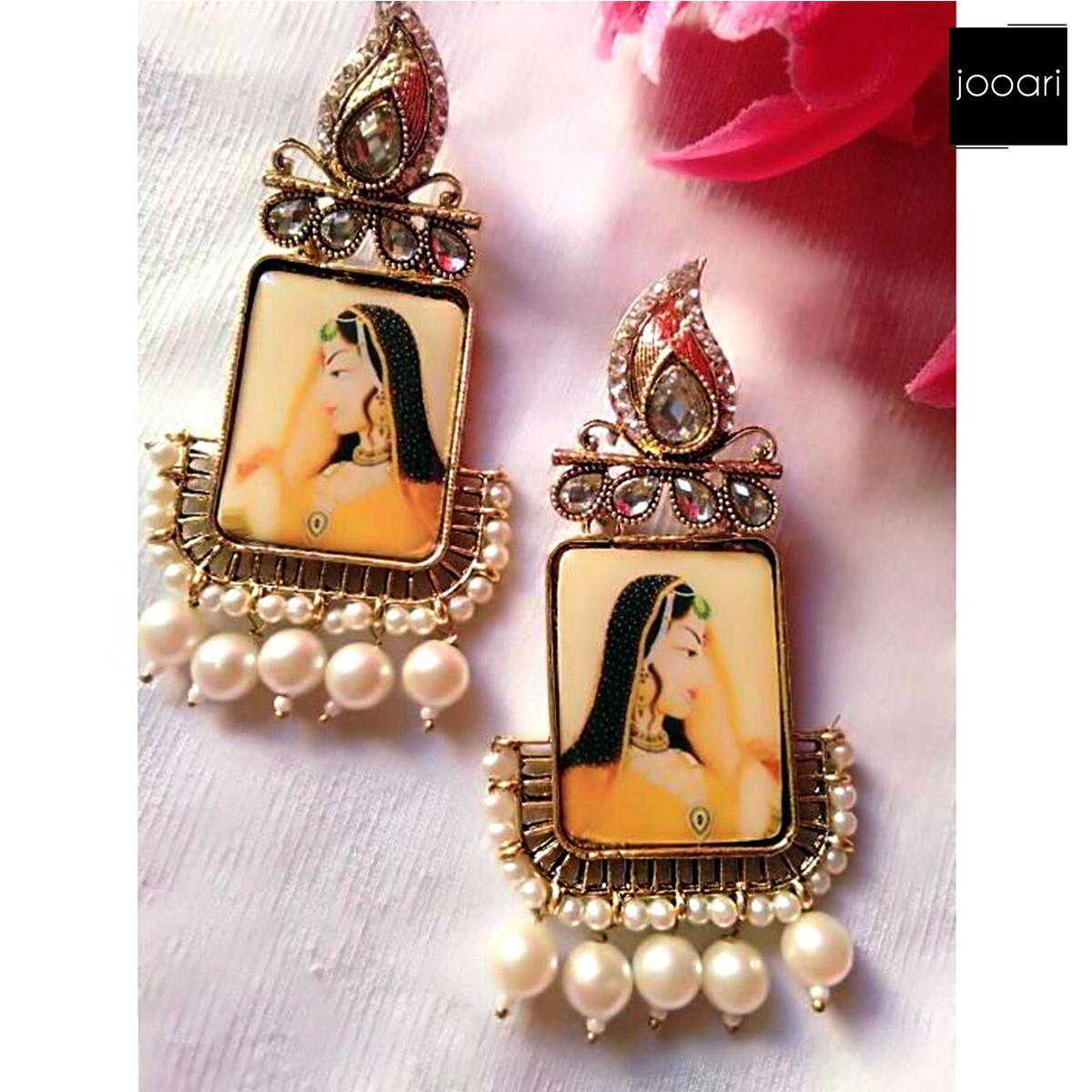 White Pearl Bridal Photo Earrings for Women