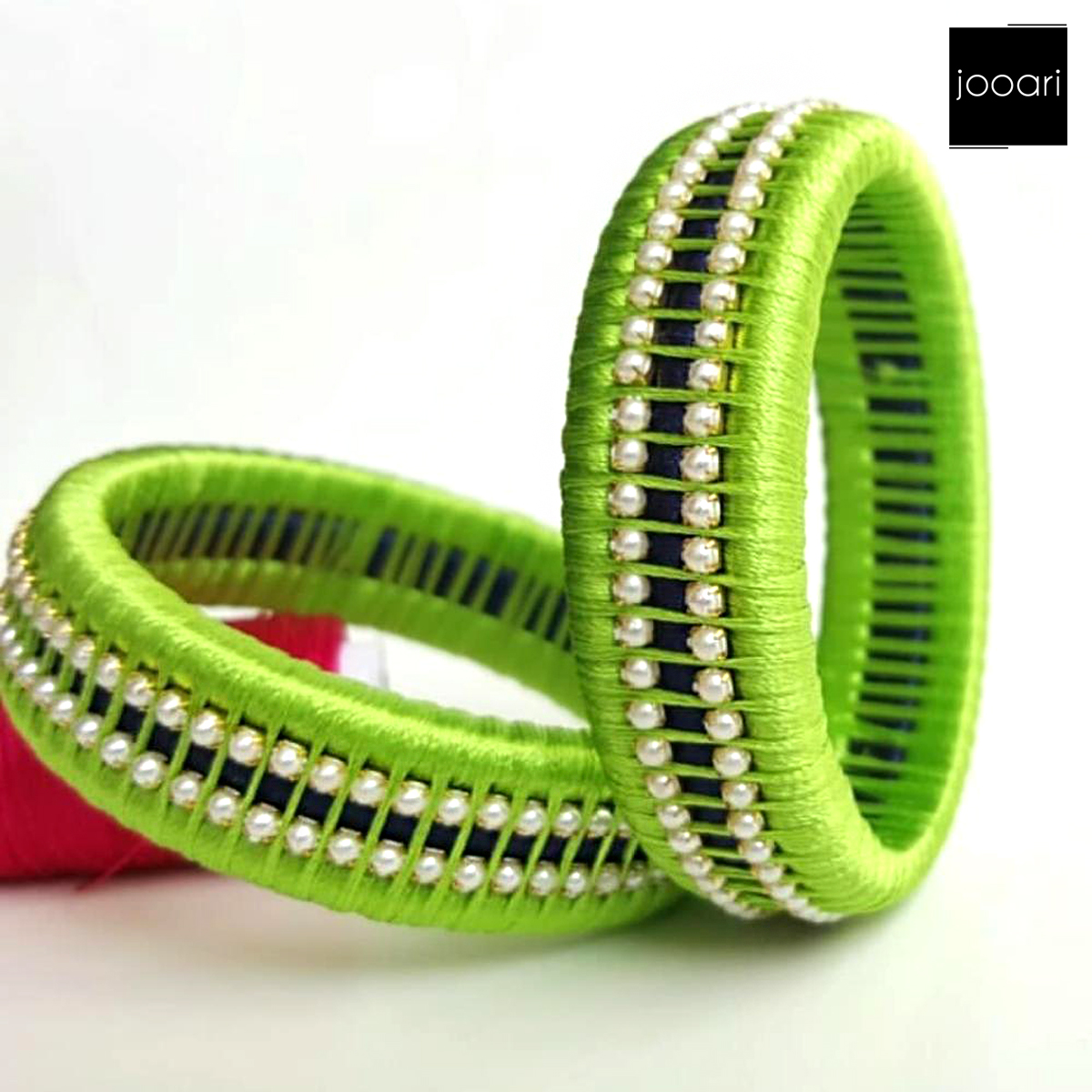 Traditional Green Threaded Pearl Bangles for Women and Girls