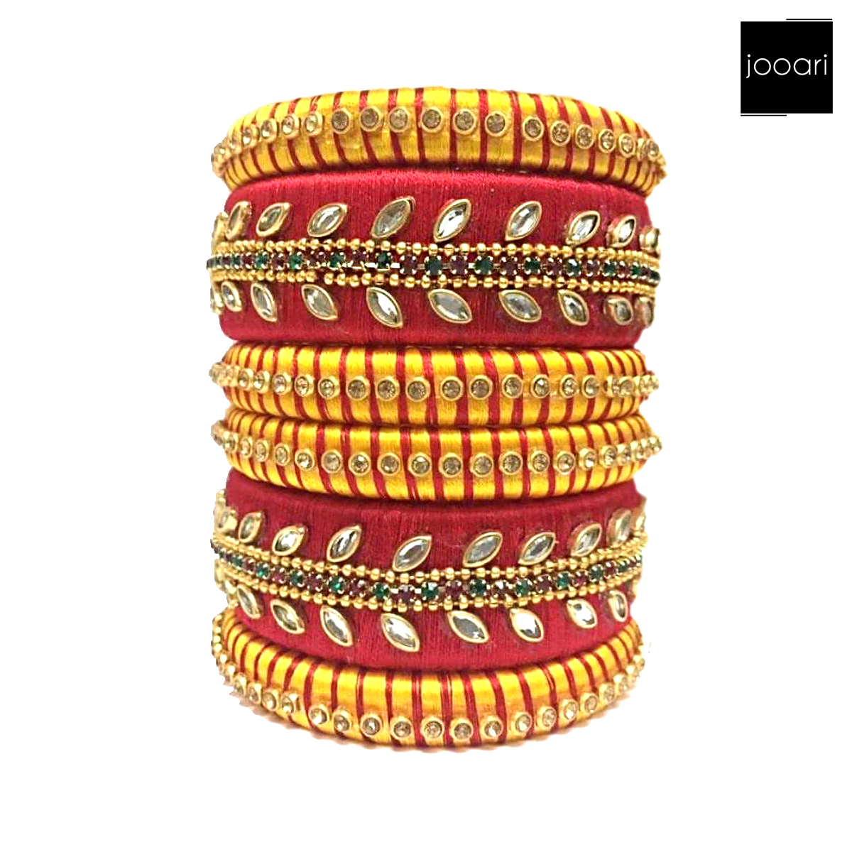 Red Yellow Color Silk Dori, Stylish Silk Thread Bangles Sets For Women and Girls