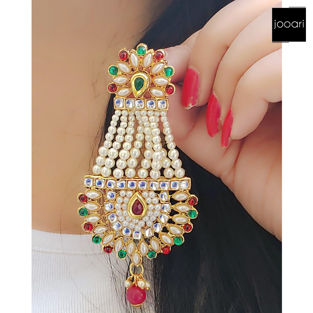 Pearl Combination Green Red Color Jhumke Earrings for Traditional Look