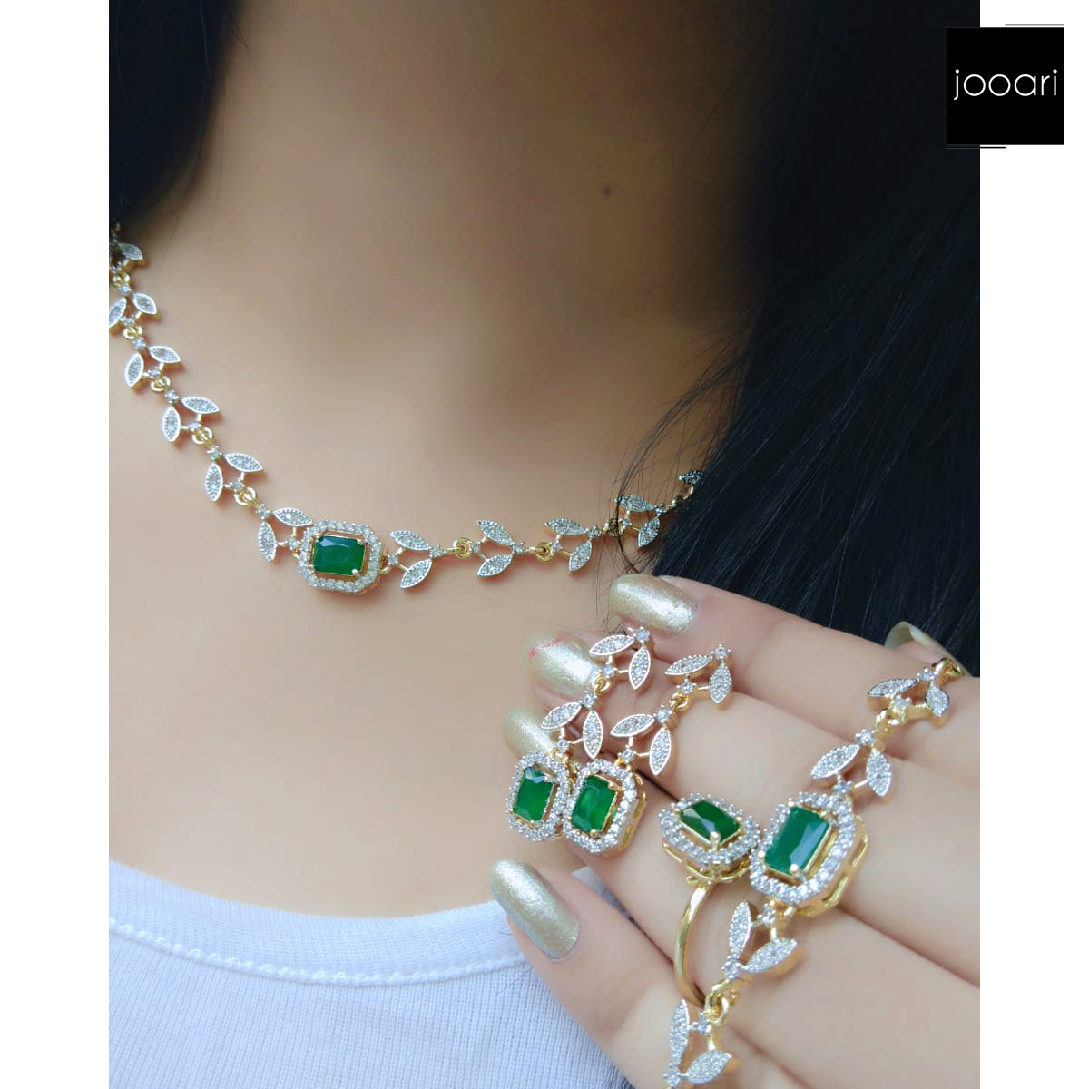 French Green Stone Studded Exquisite Pendant Set for Women and Girls