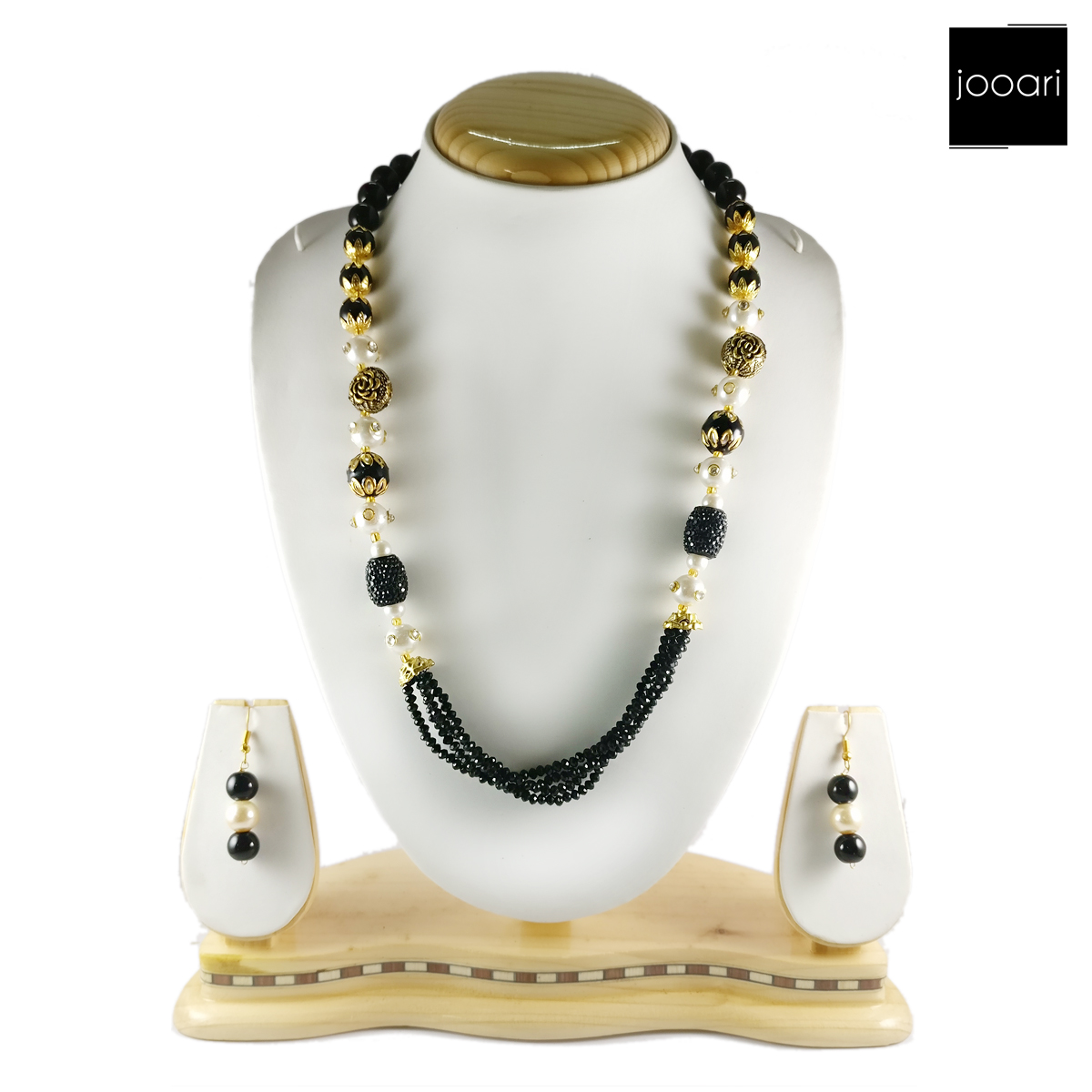 Black White Pearl Designer Necklace Set and Earrings with Black Bead Chain for Women and Girls (Traditional and Party Wear)