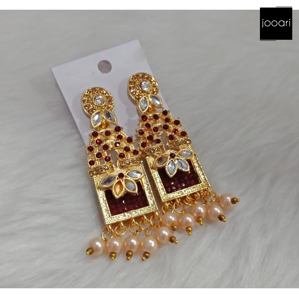 Gold Plated Maroon Stones White Pearl Jhumka Earrings for Women