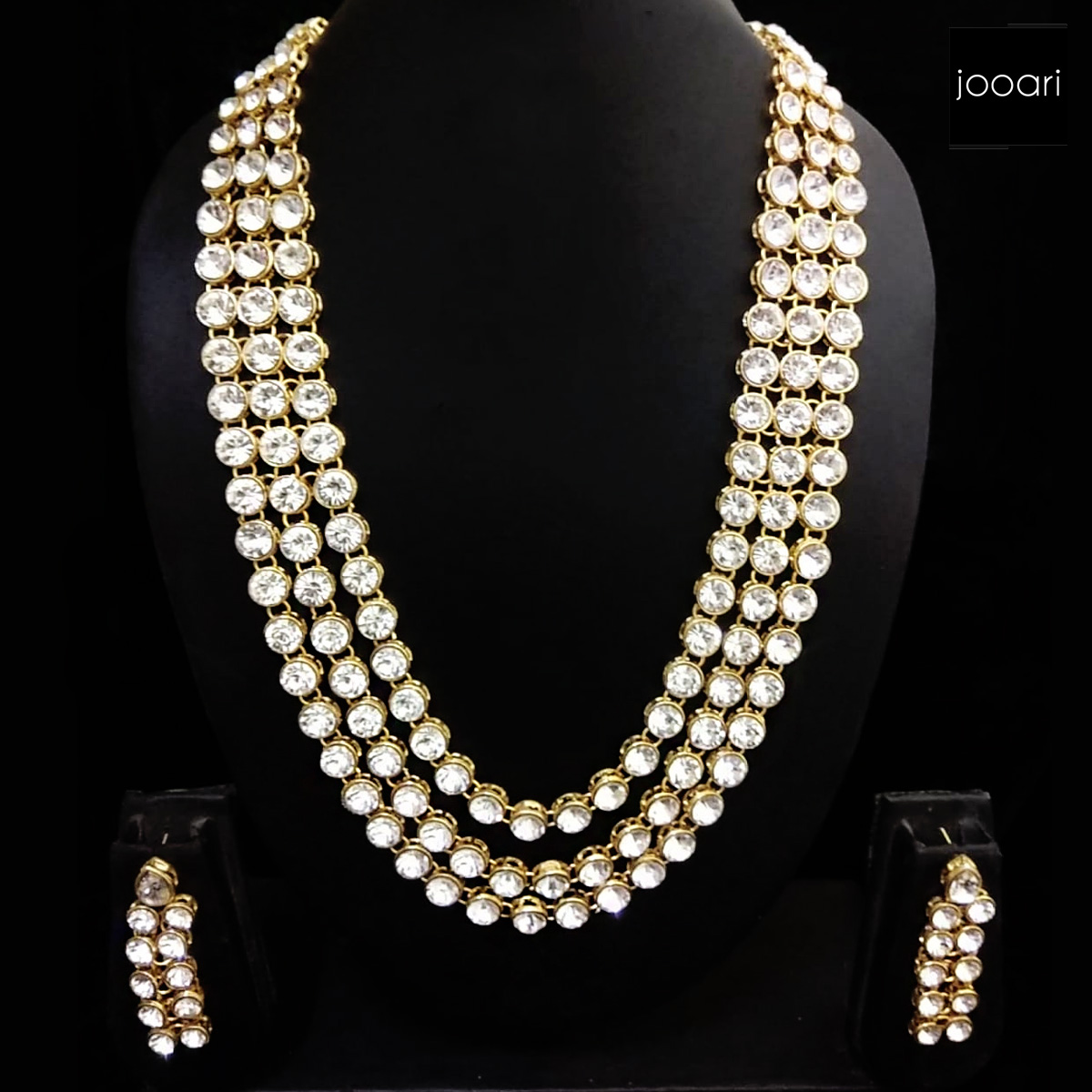 Diamond Pearl Embedded Necklace Set for Women
