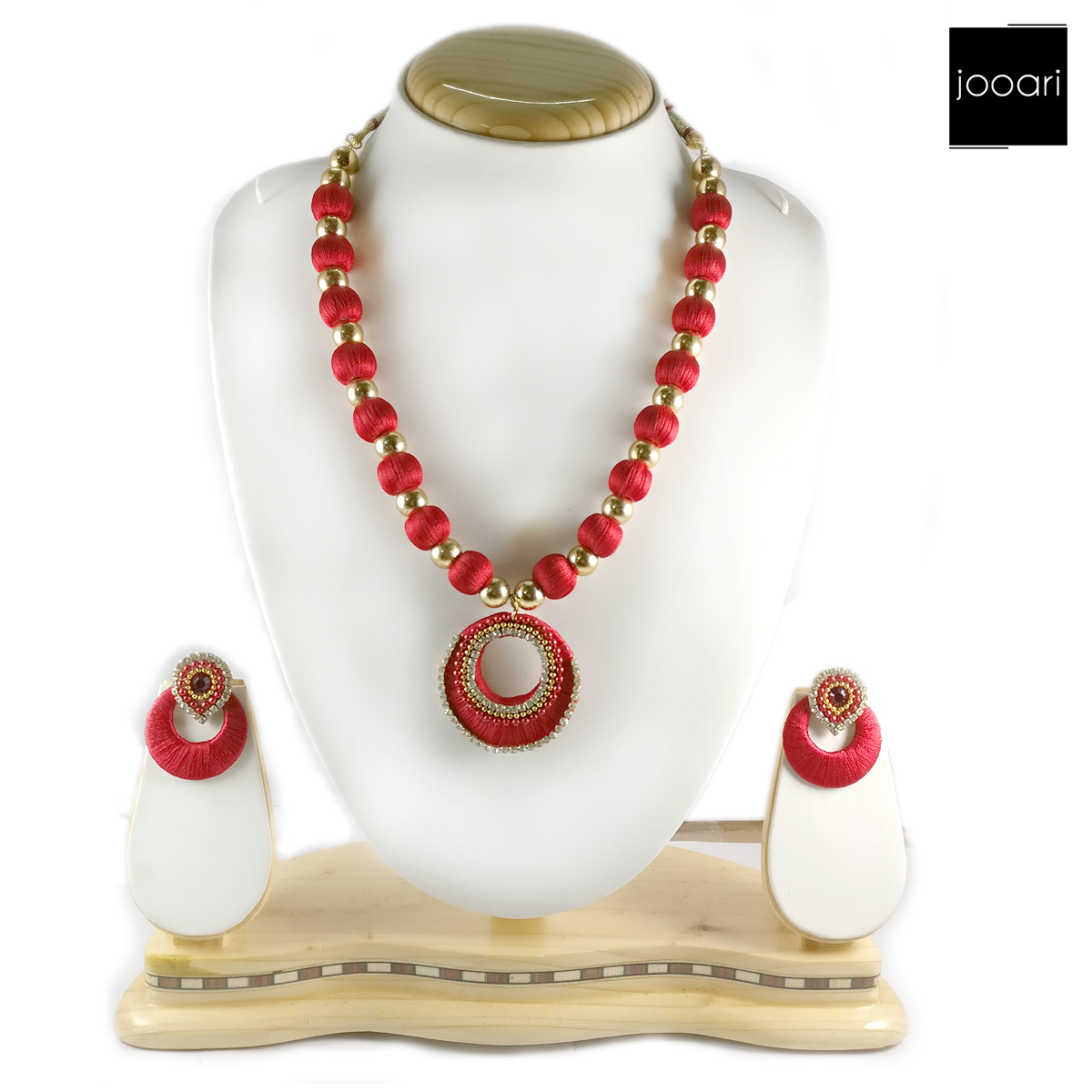 Gold Red Designer Silk Threaded Necklace Set with Earrings for Women and Girls (Wedding and Party Wear)