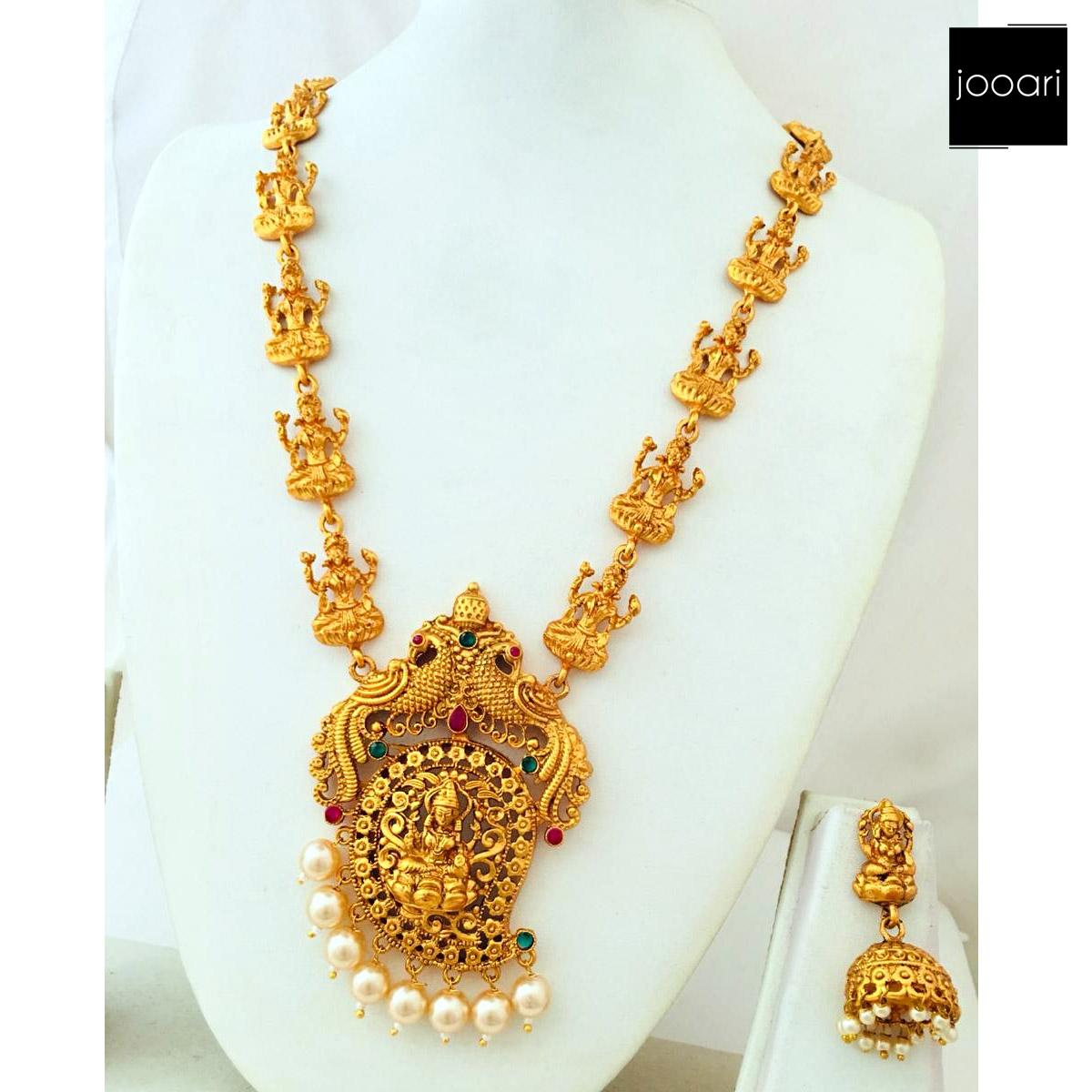Pure Copper Matt Finish Premium Quality Long Temple Necklace for Women