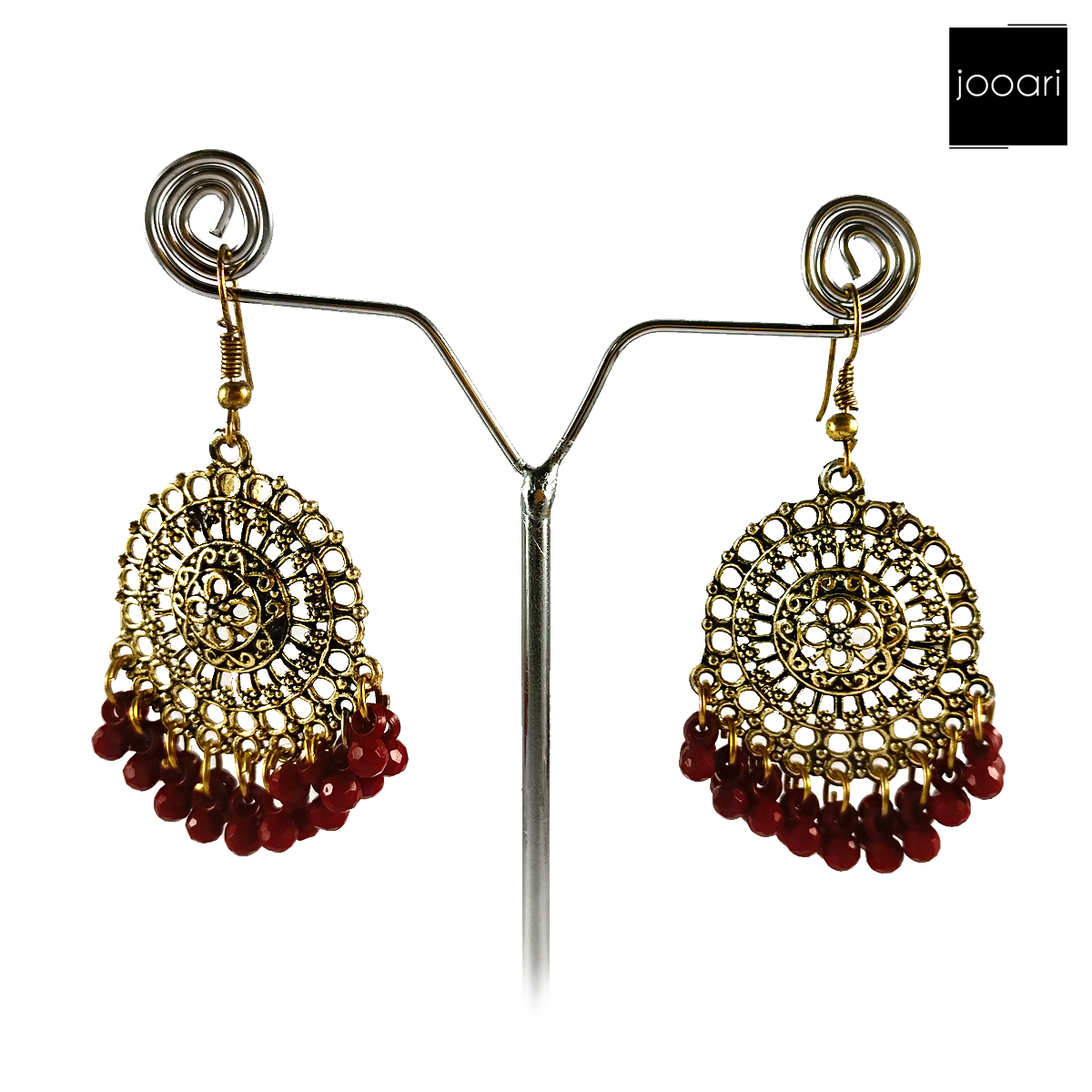 Gold Red Antique Plated Afghani Earrings