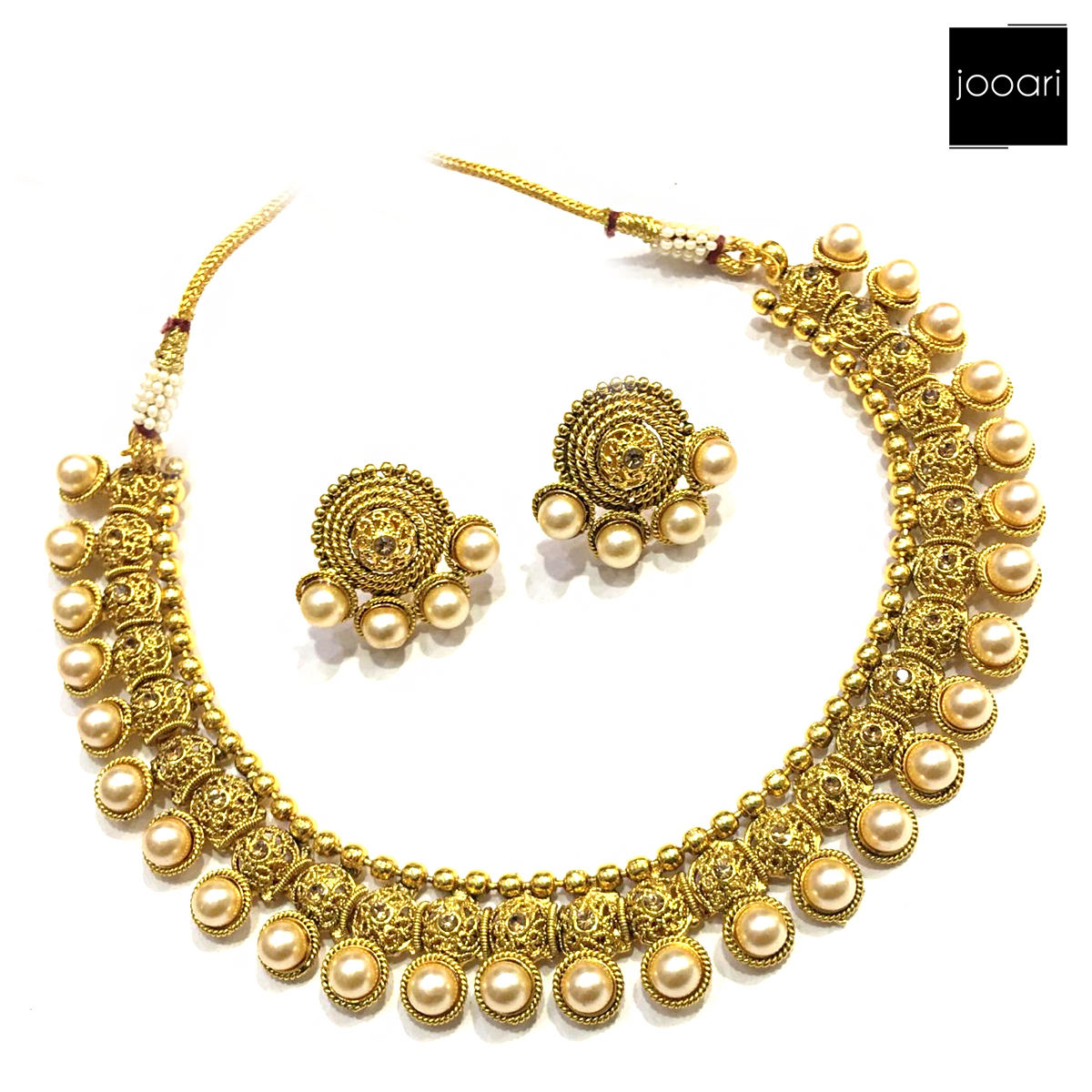 New Antique Gold Pearl Pure Copper Designer Necklace Set with Earrings for Women and Girls
