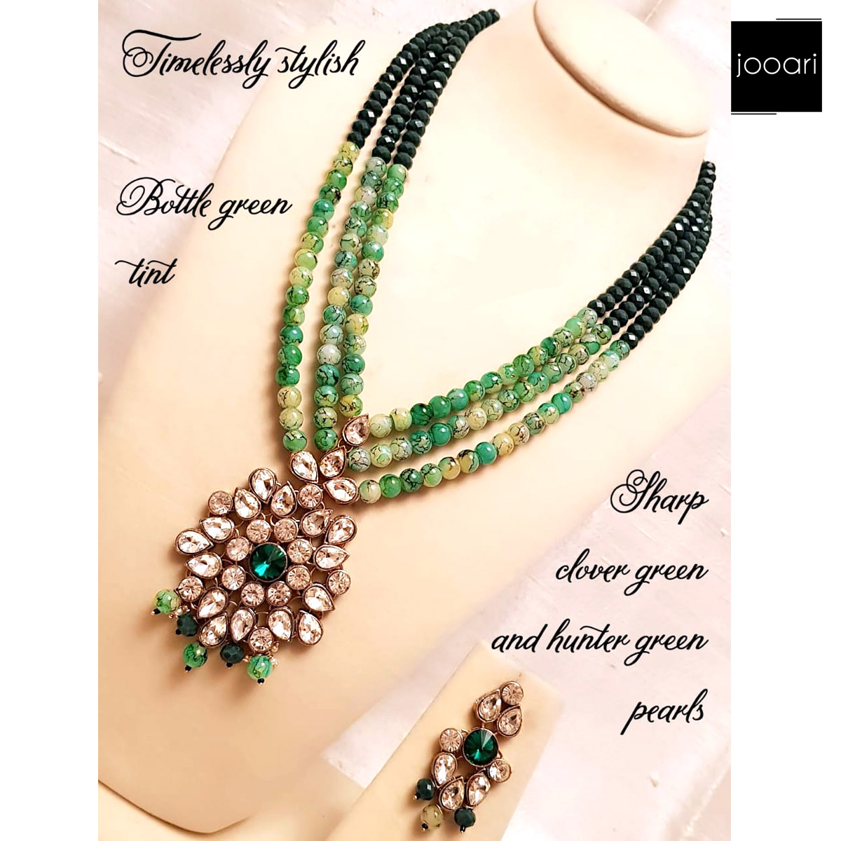 Bottle Green Tint Sharp Clover Green and Hunter Pearls Pendant for Party Girls
