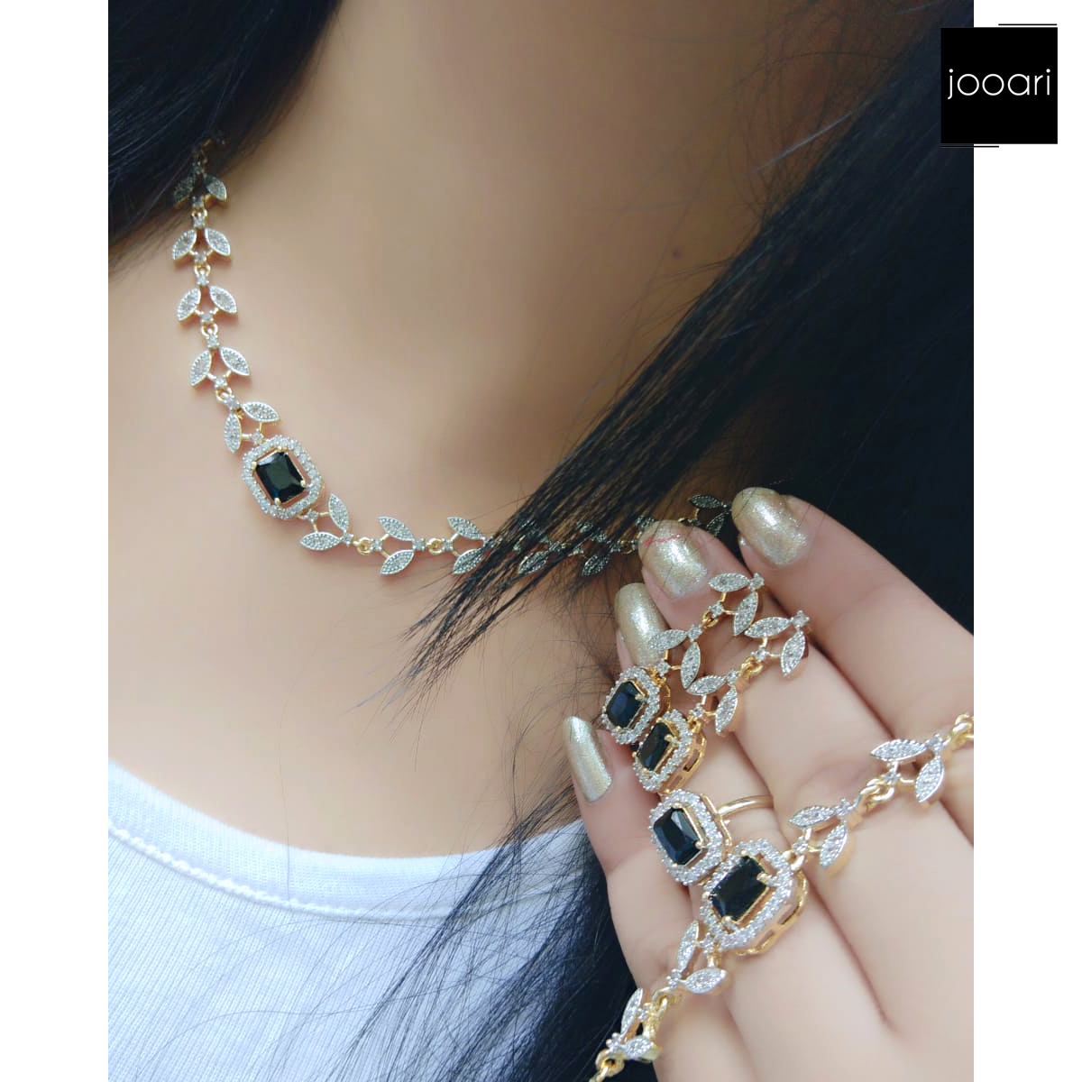 French Black Stone Studded Exquisite Pendant Set for Women and Girls