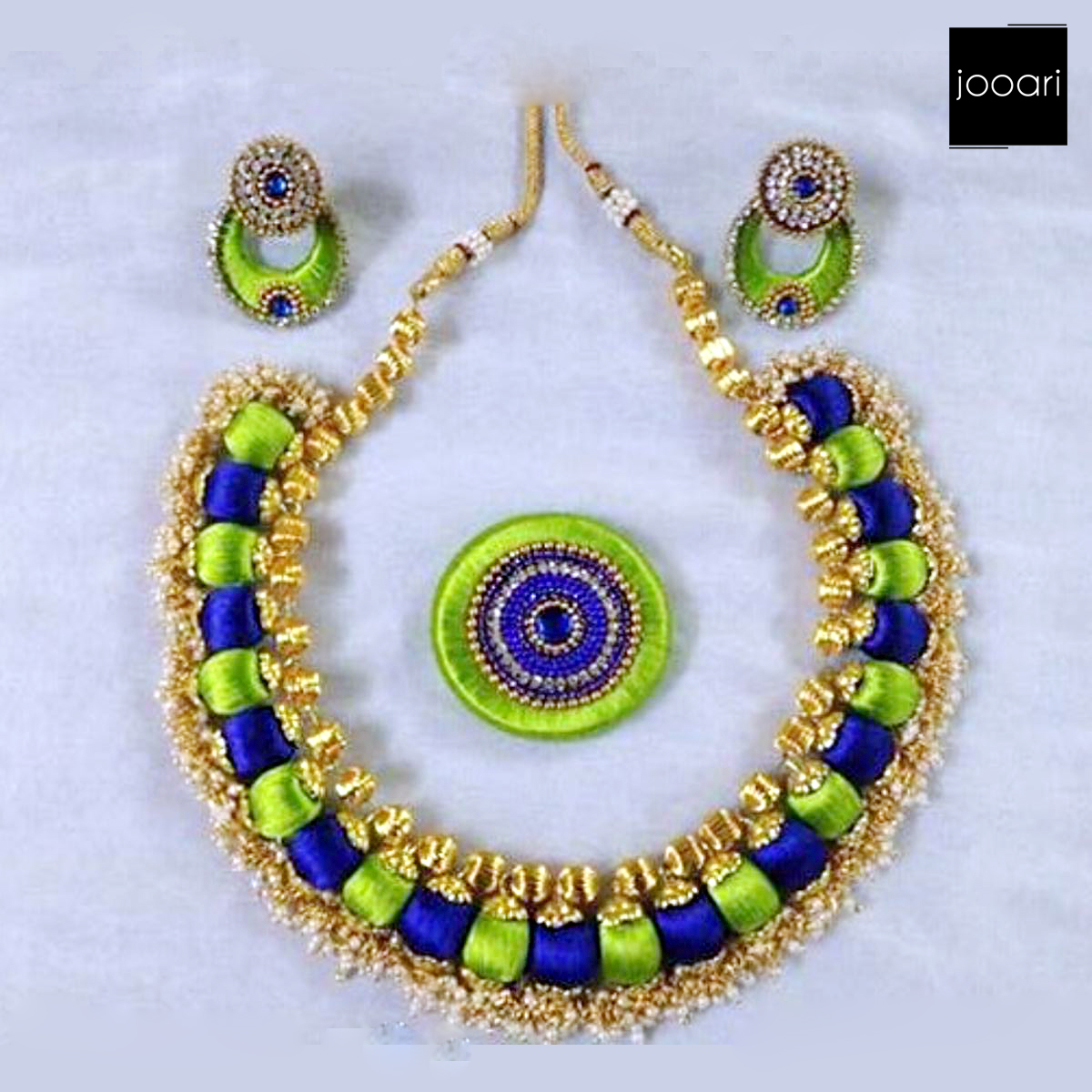 Green Blue Designer Silk Threaded Necklace Set with Earrings for Women and Girls