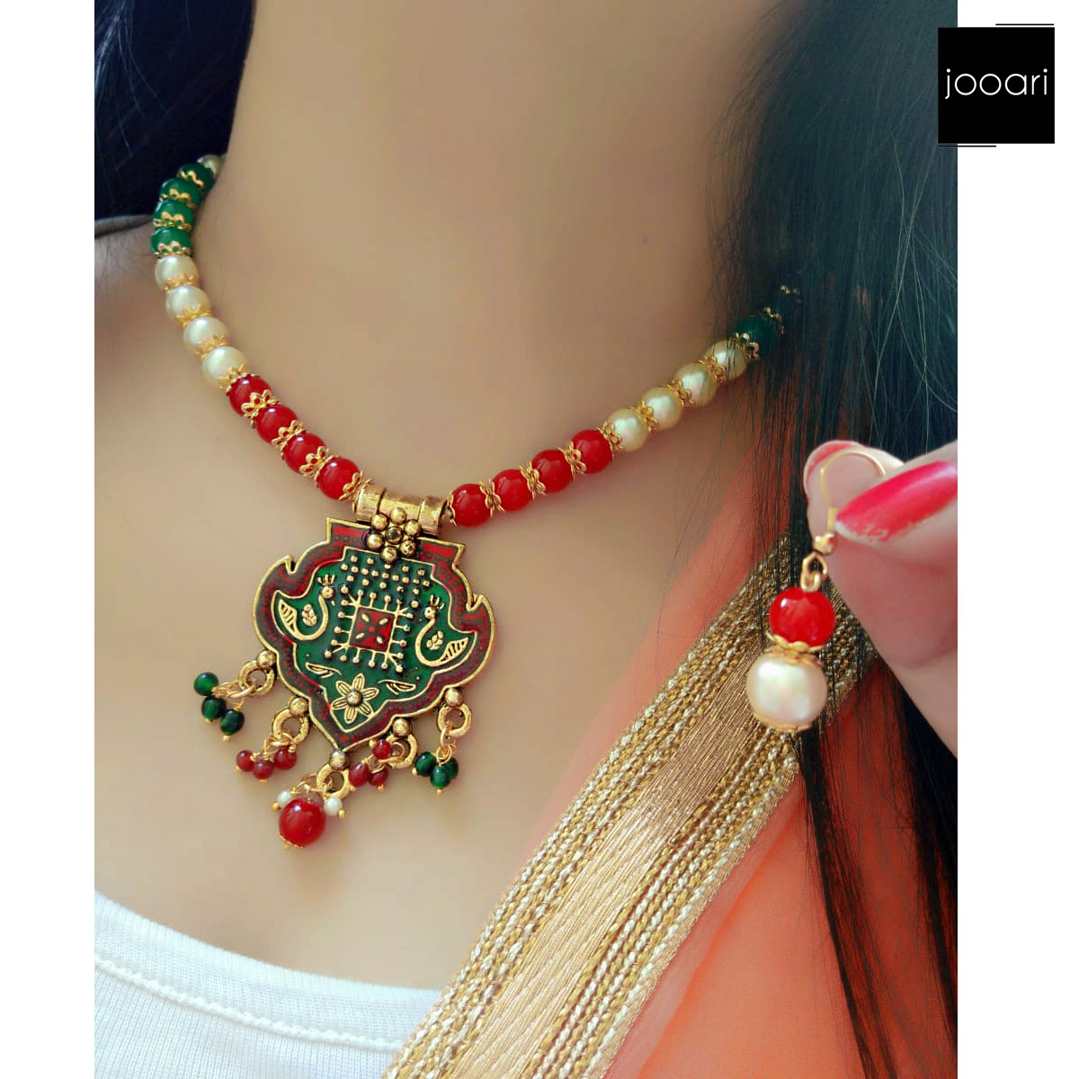 White Red Green Pearl Pendant for Girls Stylish