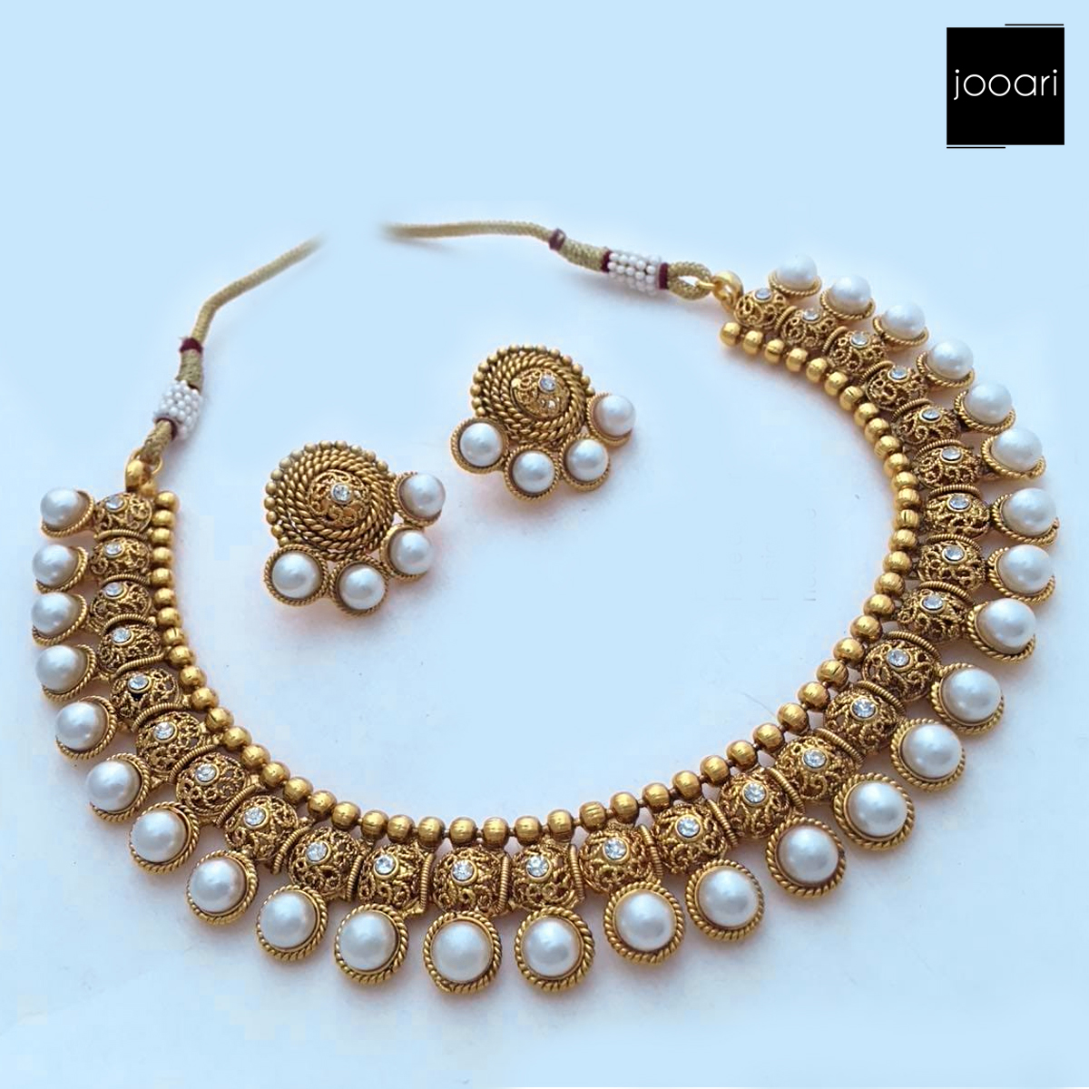New Antique White Pearl Pure Copper Designer Necklace Set with Earrings for Women and Girls