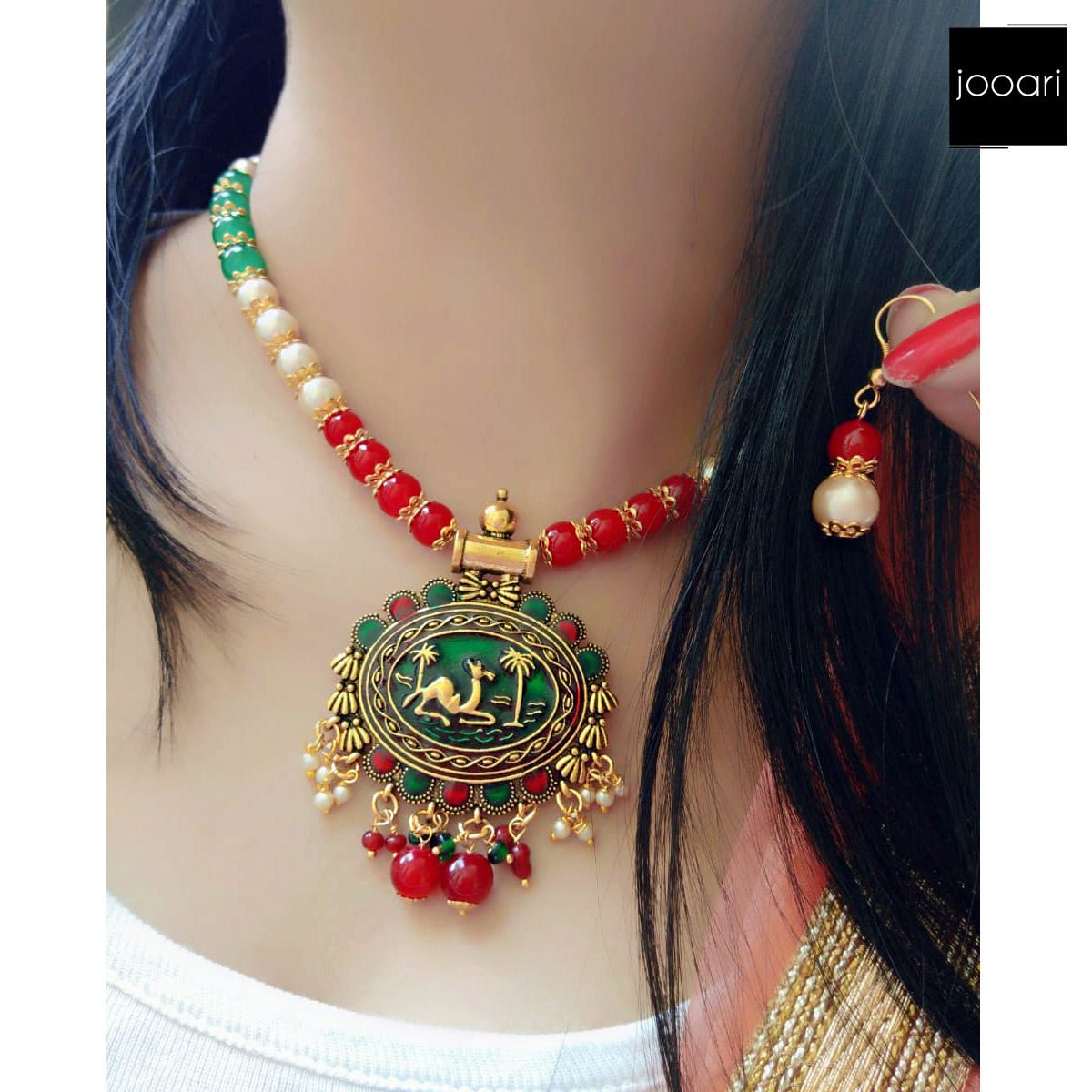 White Red Green Pearl Camel Coin Pendant for Girls Stylish Party Wear