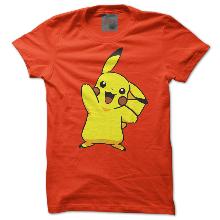 Pikachu Round Neck Orange Tshirt