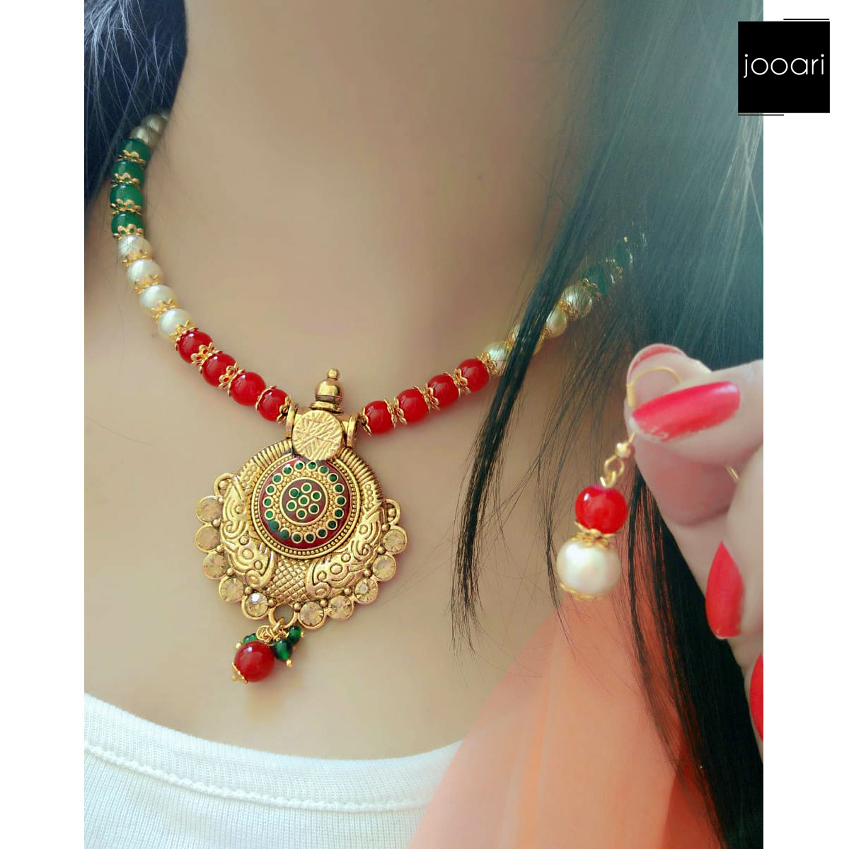 White Red Green Pearl Round Pendant for Girls Stylish Party Wear