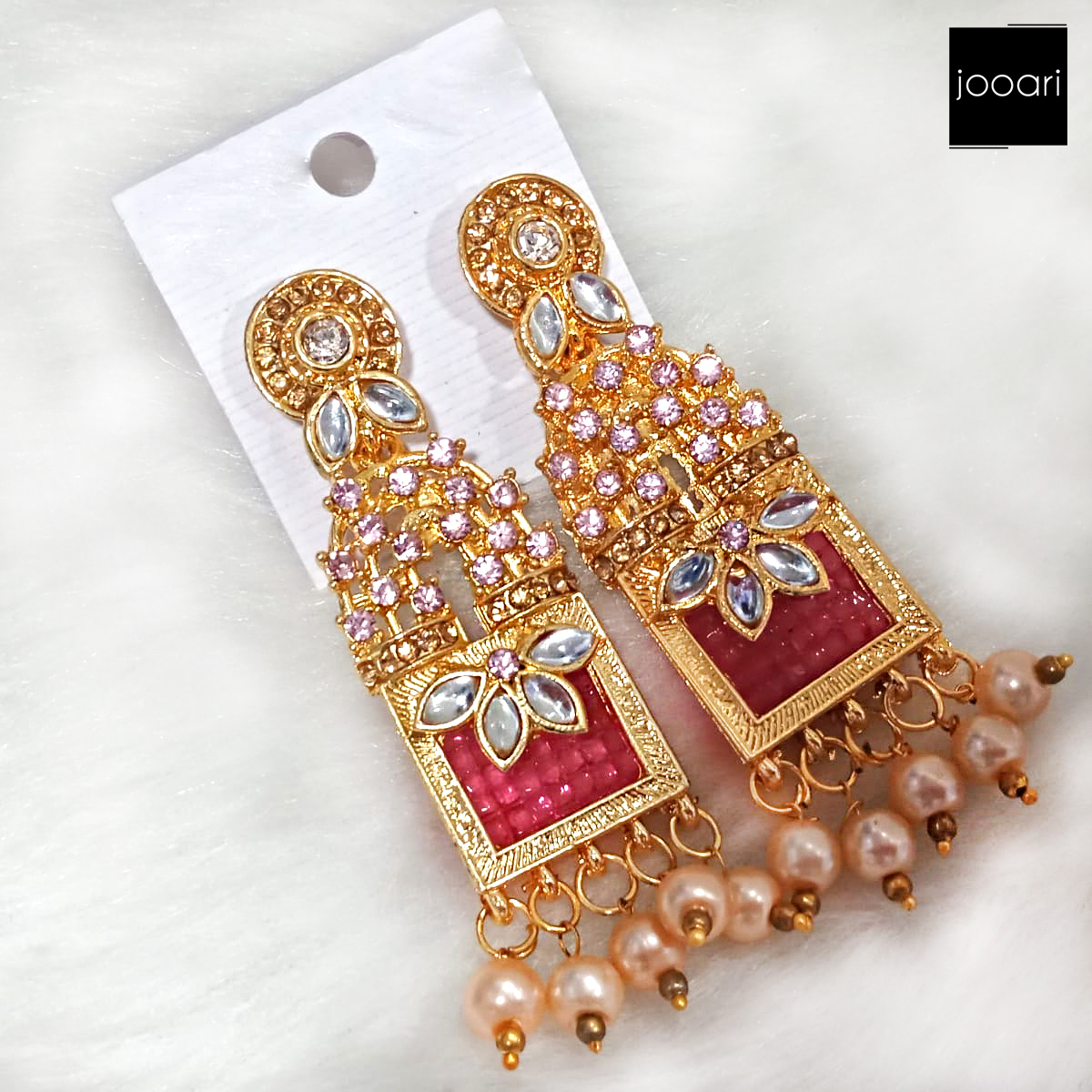 Gold Plated Pink Stones White Pearl Jhumka Earrings for Women
