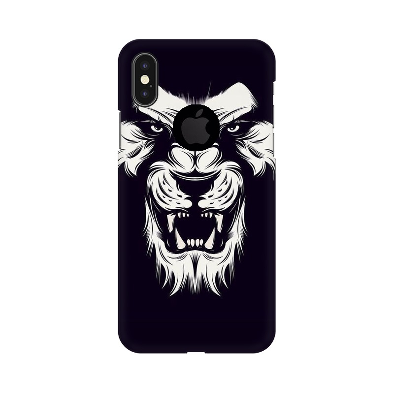 Angry Wolf Apple iPhone X with Apple Hole Mobile Cover Case
