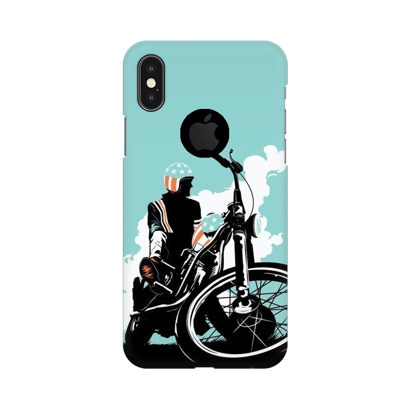 American Biker Apple iPhone X with Apple Hole Mobile Cover Case