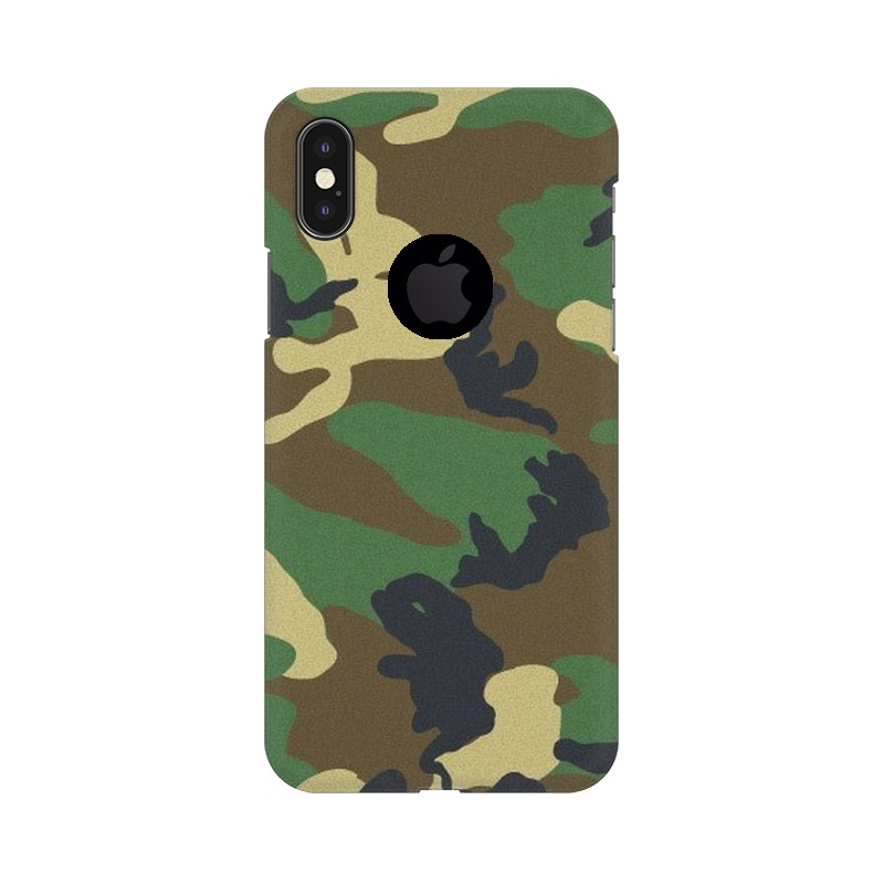 Army Texture Apple iPhone X with Apple Hole Mobile Cover Case