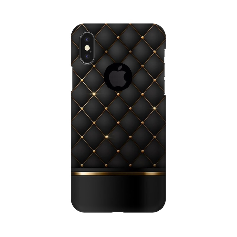 Black Gold Shine Texture Apple iPhone X with Apple Hole Mobile Cover Case