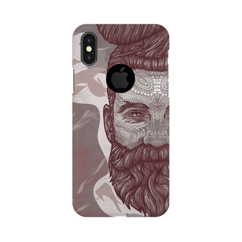 Beardo Man Apple iPhone X with Apple Hole Mobile Cover Case