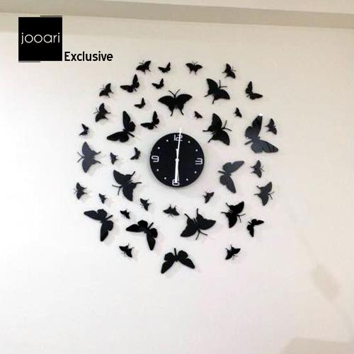 Jooari Black Titli(Butterfly) Wallclock