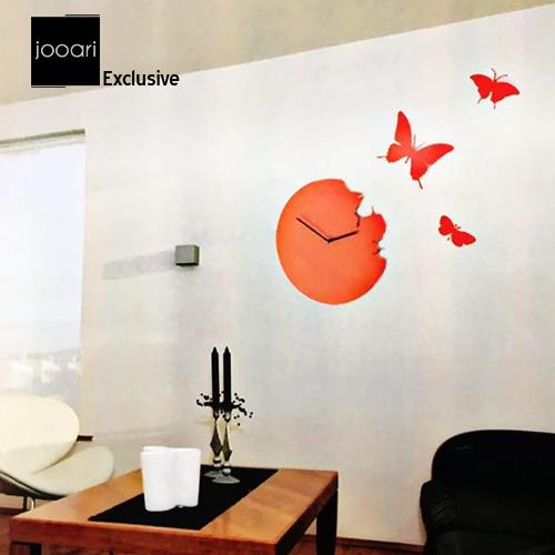 Jooari Butterfly Red Wallclock