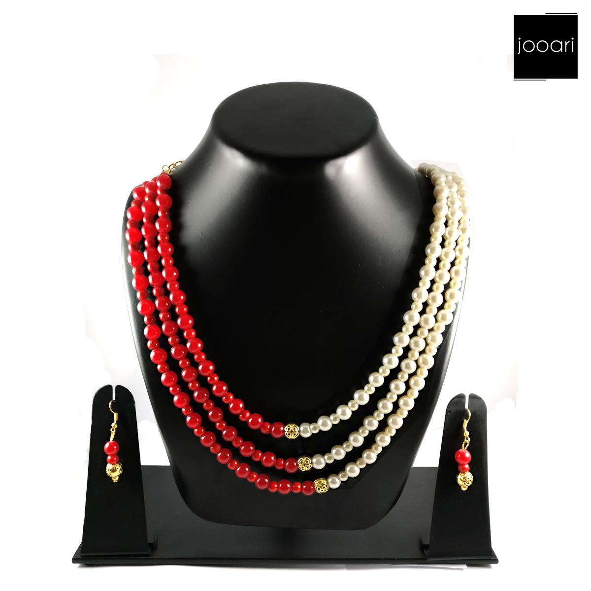 Red White Jodhpuri Pearl Necklace Jewellery for Women