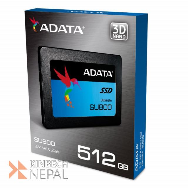 ADATA SU800 512GB 3D-NAND 2.5 Inch SATA III Solid State Drive | www.kinbechnepal.com