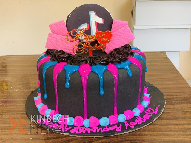 Tiktok Themed Cake | www.kinbechnepal.com