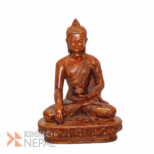 Resin Lord Buddha Statue 8 Wooden Finish | www.kinbechnepal.com