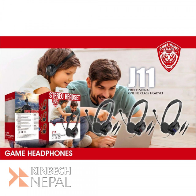 J11 Headset 3.5mm wired Headset  For Gaming , Online Class Headset   www.kinbechnepal.com