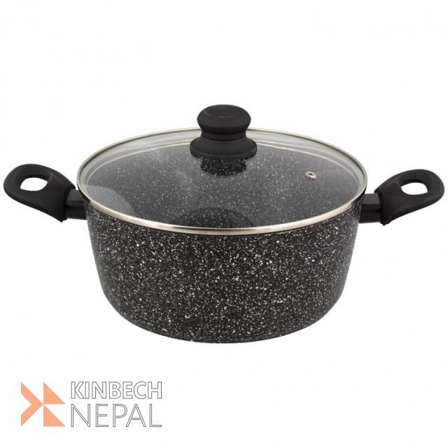 Marble Stone saucepan with lid Ø 24 cm | www.kinbechnepal.com