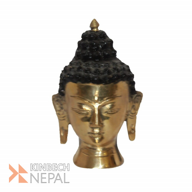 Black/Golden Lord Buddha Head Statue - 5 | www.kinbechnepal.com