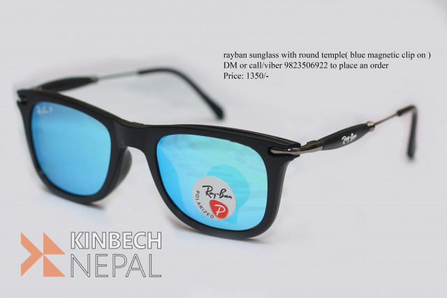 Ray-Ban Sunglasses with Round Temple (Blue Magnetic Clip On) | www.kinbechnepal.com