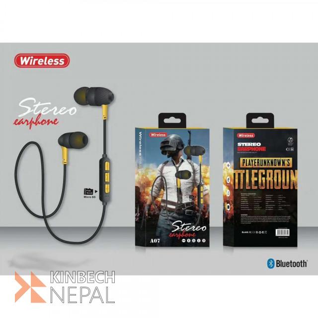 Gaming Wireless Bluetooth Stereo Earphone A07 A08 A09 A10  Waterproof , Super Bass  Rechargeable | www.kinbechnepal.com
