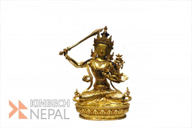 """Gold Plated 12"""" Manju Shree Statue   www.kinbechnepal.com"""