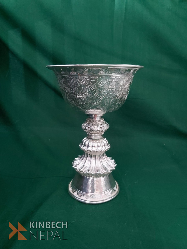 Silver 15 tola butter lamp | www.kinbechnepal.com