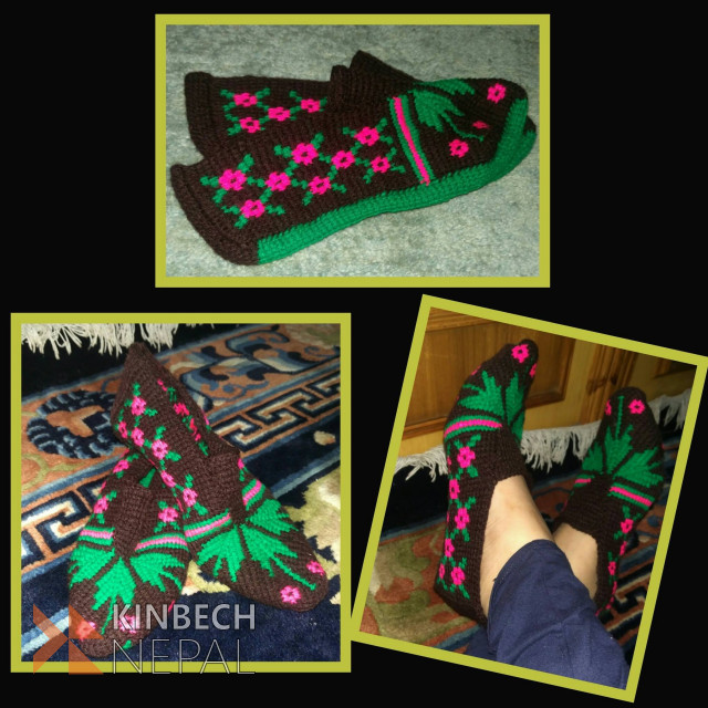 Crochet Woman Room Slipper | www.kinbechnepal.com